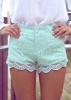 mint green lace. Mint is like my new fave color !! :)