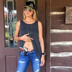 #StrappedUpBabes  @liberteaustin -  I get asked a lot what holster I use to conceal carry... My favorite is the Galco IWB BC I can wear it with tight jeans or shorts and I don't need a belt.  Except for the clip you can't see the holster and NO I do NOT ever carry on my person without a holster not even for a picture... The material is suede which makes it super comfy.. I almost always carry a 1911 for personal protection and I do not carry it cocked... Sometimes I will carry it chambered…