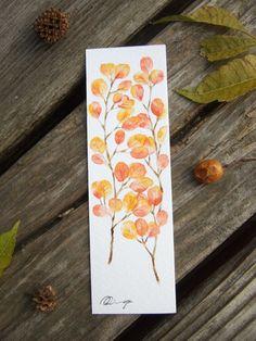 Red leaves, watercolor painting, bookmark. Facebook: https://m.facebook.com/ringo.handpainter/