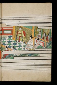 Japenese manuscript representing the Life of Buddha (Shaka no Honji). It's a Nara picture book. The emperor or king is wearing a yellow kimono. Two characters wear floral white kimono. They are in the palace, the ground is made of white and blue square. The women are outside this place.  #Japan #Manuscript #picturebook #buddha #palace #kimono