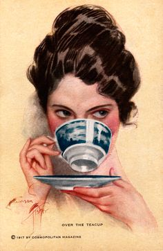 Over the teacup advert, image created by Harrison Fisher, 1910