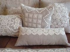 Linen Pillow with Vintage Filet Work Doily от greenhousetextiles                                                                                                                                                                                 More