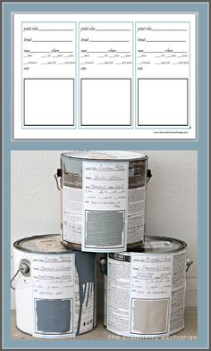 Great idea for keeping paint colors/can in check. Free printable label and binder sheet for labeling paint cans and creating a binder to keep up with home paint colors. The Creativity Exchange Printable Labels, Free Printables, Pintura Exterior, Paint Colors For Home, Paint Colours, Paint Stain, Organizing Your Home, Organising, House Painting