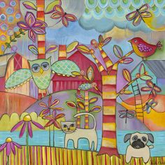 Owl Cat Dog 1 Painting Print