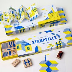 Make a stamp set of fun shapes to help kids learn about shapes, patterns, and design. Toy Packaging, Brand Packaging, Packaging Design Inspiration, Graphic Design Inspiration, Cute Diy Room Decor, Board Game Design, Ideias Diy, Tampons, Grafik Design
