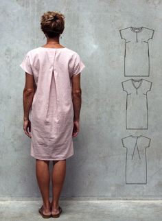 The Stitchbird Dress sewing pattern from The Sewing Revival is a casual fitting pull on dress with a cross over pleat at the back. Dress Making Patterns, Easy Sewing Patterns, Skirt Patterns, Coat Patterns, Blouse Patterns, Vogue Patterns, Linen Dress Pattern, Simple Dresses, Funky Dresses