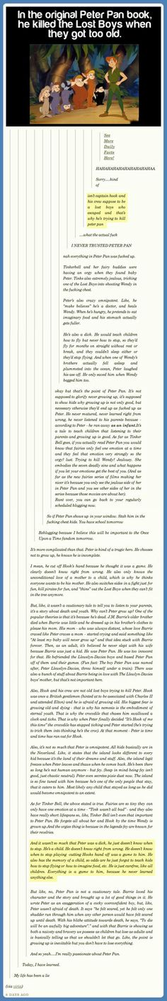 The awkward truth about Peter Pan…