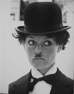 Bridget Bardot as Charlie Chaplin, in a photoshoot done in Mexico in 1965 during the filming of Viva Maria