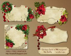 """4 Christmas Cards 1152x864 in PNG transparent """"No Shadows"""""""