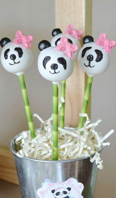 Adorable cake pops at a Panda Birthday Party!  See more party ideas at CatchMyParty.com!