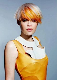 Goldwell Czech Republic has outdone themselves on this beautiful bob cut and amazing coloring job. Starting with the cut which is just on point when i Short Hairstyles For Women, Trendy Hairstyles, Famous Hairstyles, Short Hair Cuts, Short Hair Styles, Short Pixie, Vibrant Hair Colors, Colourful Hair, Creative Hair Color