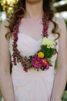 Flower necklace | N-Joy! Events and  Carolynn Seibert Photography | see more on: http://burnettsboards.com/2014/08/rustic-neon-wedding-inspiration/