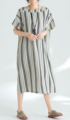 Women loose fit plus over size dress stripes maxi tunic Bohemian Boho trendy #unbranded #dress #AnyOccasion