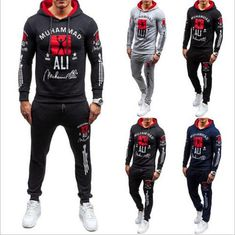 Mens Tracksuit Sweatshirt Hooded Top Joggers Bottom Print Fleece Lined Summer