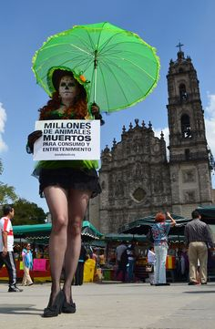 """México. En vísperas de la tradicional fecha del """"Día de Muertos"""", activistas de AnimaNaturalis realizaron un llamativo acto para honrar a todos los animales explotados y exterminados por concebírseles """"recursos"""", e informar a la sociedad sobre los Derechos Animales."""