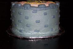 Side view of dragon birthday cake