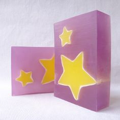 purple and yellow glycerin soap