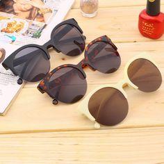 1b8cb3c40 R$ 6.89 10% de desconto|JOGAL Alta Qualidade Das Mulheres Da Forma Do  Vintage óculos de Sol da Forma Redonda Círculo Quadro Semi Sem Aro Verão  Retro Eyewear ...