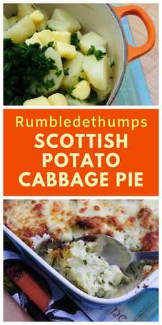 Rumbledethumps or Scottish Potato Cabbage Pie. A traditional Scottish dish made of potatoes, cabbage and onion, topped with cheese and baked in the oven. Scottish Dishes, Scottish Recipes, Irish Recipes, Potato Recipes, Veggie Recipes, Vegan Cabbage Recipes, Cabbage Meals, Lemon Recipes, Dinner Recipes
