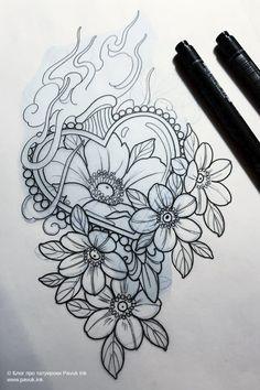 New Traditional Tattoo, Neo Traditional Art, Traditional Tattoo Inspiration, Traditional Tattoo Flowers, Family Tattoo Designs, Heart Tattoo Designs, Tattoo Design Drawings, Flower Tattoo Designs, Flower Tattoos