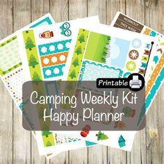 Printable HAPPY Planner Camping Weekly Kit- Tent Campfire Marshmallows Camper by WhimsicalWende on Etsy