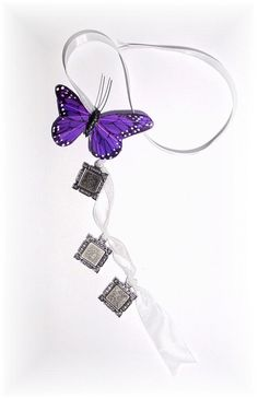DIY - Wedding Bouquet Memorial Triple Silver Square Royal Purple Butterfly Photo Ribbon Charm by StainedGlassAddie, $18.00