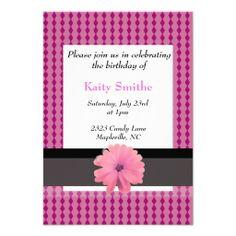Pink Diamonds and Floral Birthday Invitation #birthdays #pink