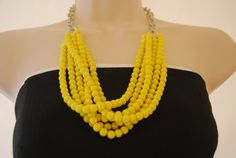 Yellow Statement Necklace Yellow Beaded Necklace Chunky Bold Bridesmaids Necklace Wedding Jewelry on Etsy, $35.00