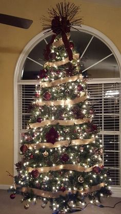 brown gold and maroon 9 ft christmas tree - 9 Ft Christmas Tree
