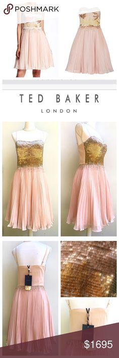HOST PICK🌺Ted Baker Pink Beaded Calita Silk Dress Whoa! This Ted Baker dress is sure to channel your most princess-bride, girly-girl, ballerina vision of perfection! It is truly stunning! I have Ted sizes 1,2, 3 (US 4,6,8). It retailed for $1695, but I am open to offers. Please use the offer button. Strapless style features glistening beading across the bodice, with a degrade effect as it falls into the soft, billowing skirt.   🎀PLEASE SEE ADDITIONAL LISTING FOR MEASUREMENTS AND ADDITIONAL…