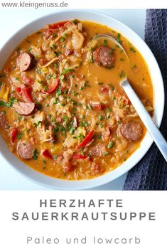 : Here you can find a recipe for a hearty sauerkraut soup with sausage, because . Here you will find a recipe for a hearty sauerkraut soup with sausage, which I can only recommend. because BreakfastRecipes find hearty Paleo recipe sauerkraut sausag Crock Pot Recipes, Healthy Soup Recipes, Slow Cooker Recipes, Beef Recipes, Chicken Recipes, Quick Recipes, Paleo Nutrition, Quick And Easy Soup, Slow Cooker Beef