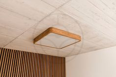 Wooden custom-made lamp according to customer needs. The custom shaped and unique LED ceiling lamp on architectural concrete. Led Ceiling Lamp, Led Lamp, Lamps, Wooden Lamp, Nordic Design, Scandinavian Interior, Living Room Modern, Made Of Wood, Hanging Lights