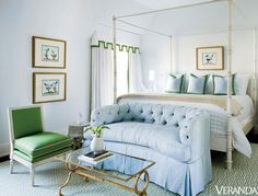 French-Influenced Atlanta home designed by Melanie house design room design decorating designs interior design 2012 Bedroom Green, Master Bedroom, Bedroom Decor, Pretty Bedroom, Bedroom Sofa, Blue Bedrooms, Clean Bedroom, Bedroom Ideas, Design Bedroom