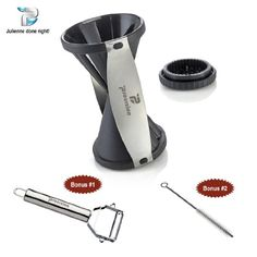 Spiral Slicer Stainless Steel Vegetable Spiralizer with Special Japanese Blades to Create Julienne Low Carb Healthy Raw Veggie Pastas, Noodles and Garnishes. Includes Peeler and Cleaning Brush. Procizion http://www.amazon.com/dp/B00K1U9Y56/ref=cm_sw_r_pi_dp_z1UMtb137872R6PX