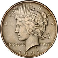 The Peace silver dollar coin was minted in the United States from 1921 to 1928, and then again in 1934 and 1935. Designed by Anthony de Francisci, the peace silver dollar coin was the result of a competition to find designs representative of peace.