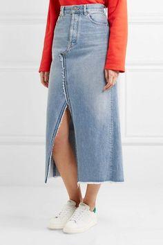 Golden Goose Deluxe Brand - Frayed Denim Midi Skirt - Light denim - 28