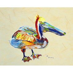 Betsy Drake Interiors 'Heathcliff Pelican B' by Betsy Drake Painting Print on Canvas