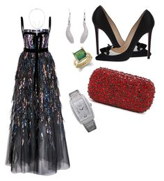 """""""gala #05"""" by blingring-2 ❤ liked on Polyvore featuring Elie Saab, Stephen Webster, Tiffany & Co., Christian Louboutin, Alice + Olivia and Piaget"""