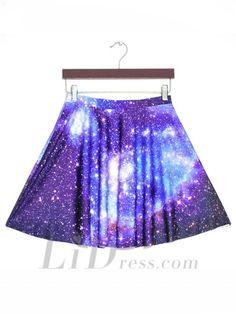 Hot Digital Sky Pleated Digital Print Skirt Skt1188