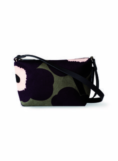 """Description: Canvas purse in the iconic Unikko (""""poppy"""") print with an adjustable leather shoulder strap. Marimekko Bag, Canvas Purse, Cotton Canvas, Sunglasses Case, Shoulder Strap, Pouch, Purses, Leather, Bags"""