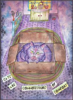 Cat in the Box  mostly water color crayons ad pencils, with inks on stencils