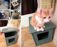 Handmade Square Box DIY For hiding the cat litter box! Love it!❤