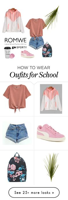 """"""""""" by jeanne-creative on Polyvore featuring Levi's, H&M, Puma, Herschel Supply Co., Nearly Natural and Ballard Designs"""