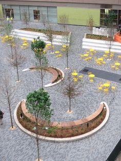 ONE City Plaza | Greenville, South Carolina | Civitas s #landscape #architecture #public #space #plaza #architecture #yellow #seats #curved #bench
