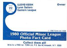 1980 TCMA Lynn Sailors #22 Lloyd Kern Back