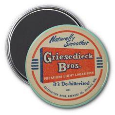 Griesedieck Bros., Beer Coaster Vintage Refrigerator Magnet
