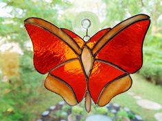 Stained Glass Butterfly Suncatcher by GlassofDistinction on Etsy, $14.95