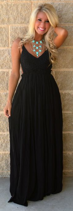 Black Just My Luxe Open Back Maxi from Haute Pink Boutique