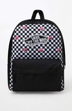 Carry your daily essentials with confidence with the Realm Rose Checkerboard Backpack from Vans. This rose and checkerboard canvas backpack features a retro Vans skateboard logo patch at the front and is equipt with a large main compartment, a padded lapt Black Backpack School, Vans Backpack, Backpack For Teens, Backpack Bags, Cute Black Backpack, Cute Backpacks For School, Cute Mini Backpacks, Cool Backpacks, Teen Backpacks