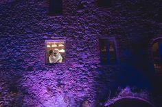Dramatic panoramic light on stone Tuscan farmhouse -smoochin in the moonlight!